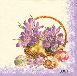 Vårkorg med krokus 2 olika motiv  (lila kant)  8301
