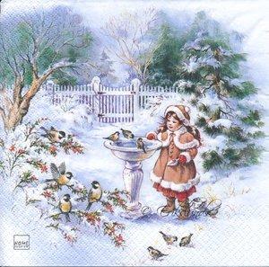 Flicka vid fontän i vinterskrud   sej2038