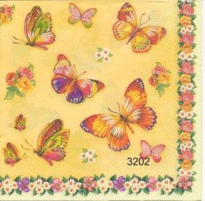 Fjärilar och blommor på gul botten   3202