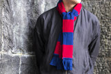 Halsduk röd & blå