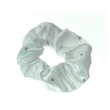 ShowQuest Satin Scrunchie White med perler