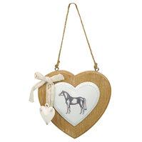 Hjerte i tre med metalldekor hest