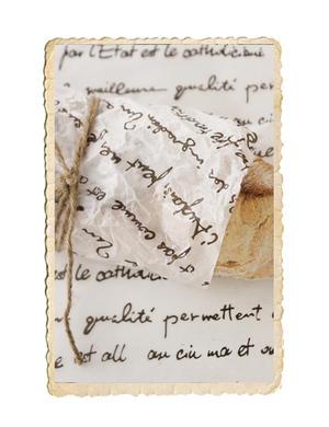 Ark vaxpapper med fransk text
