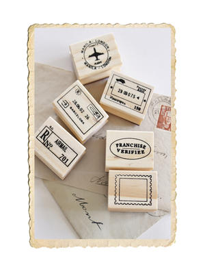 Poststämplar i set av 6 styck