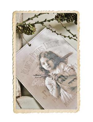 Vacker bild, ängelflicka med viol