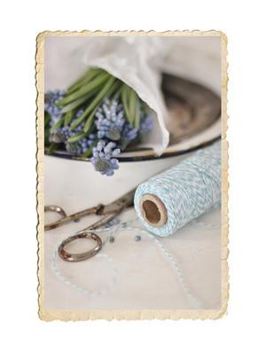 Nysta tvåfärgat bomullssnöre, ljusblå/vit