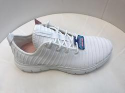 Skechers Womens Flex Appeal 2,0, vit med snörning, Memory Foam innersula-