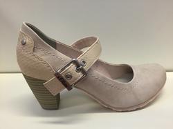 """Fin-sko """"s.Oliver"""" ljus rosa/beige, nappa-imitation, jättefin och skön. Klacken är 6,5 cm."""