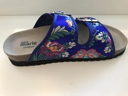 "Biosandal ""THALIA""  Sköna Marie. Royal blå med blommönster. Skinn-innersula som är uppbygd, Comfort."