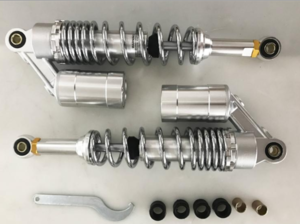 330mm shock absorbers silver with chromed springs