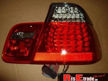 Baklysen LED till 3er BMW E46 rött & svart till 4d sedan.