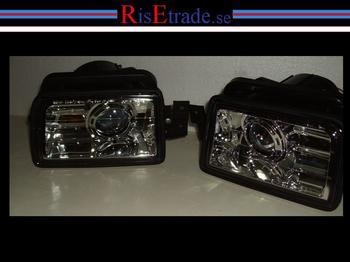 Dimljus klarglas kromade med projektorlins BMW E34.