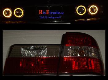 Baklampor till BMW E34 sedan in Klarglas rödvita