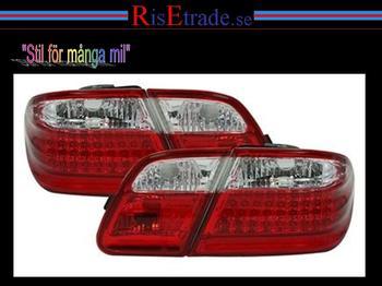 Baklampor med LED ljus Mercedes W210. / Rödvita