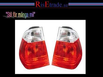 Baklampor till BMW E46 seda -8/01 / rödvita.