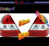 Rödvita LED Baklampor till  Mercedes W202