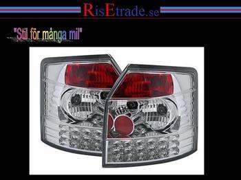 LED baklampor i krom till Audi A4 8E Avant