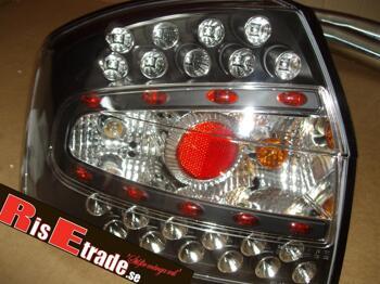 LED baklampor i svart till Audi A4 8E sedan