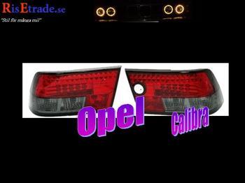 Rödsvarta Led bakljus till Opel Calibra.