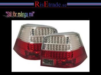 Rödvita LED bakljus till VW Golf 4. 1J sedan.