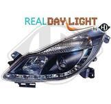 Opel..DRL = day running light.  Strålkastare med parkeringsljus i slinga...Ett par designstrålkastare