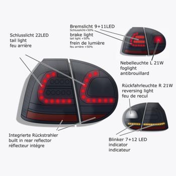 Baklyktset VW Golf V 03-08 Svart