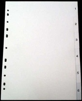 Register A4 PP vita 1-6 svart pag. Levereras individuellt packade i påse inkl. försättsblad i papp