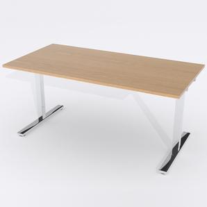 Schreibtisch Rechteck Elektrisch 160x80 Furnier Eiche