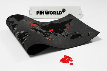 Palomar Pinworld map ,mini världskarta för väggen, ljusblå