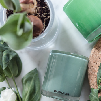 Skogsberg & Smart ljuslykta Hurricane Candy-sage-grön