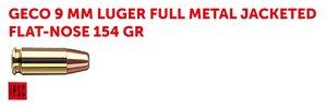 GECO 9x19 154G FMJ, 50 ptr
