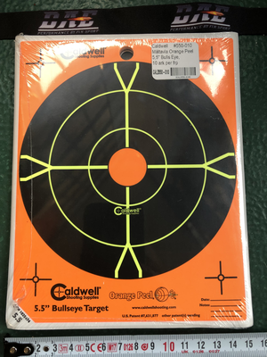 "Caldwell Måltavla Orange Peel 5,5"" Bulls Eye, 10 ark/frp"