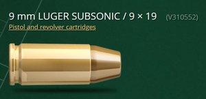 S&B 9x19 SUBSONIC, 140G FMJ 50 ptr