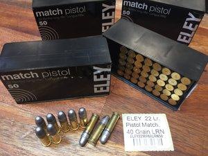 ELEY .22 Lr, Pistol Match, 40 Grain LRN