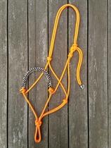 Flätad sidepullrepgrimma med ringar - Cob, Orange