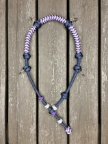 Braided riding cavesson with knot adjustment