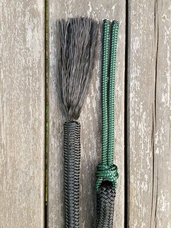Mecate rein with back splice tassel and rope popper - 14 mm, 6,70 m, Black