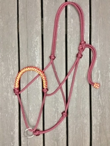 Braided rope halter with running lead rope ring