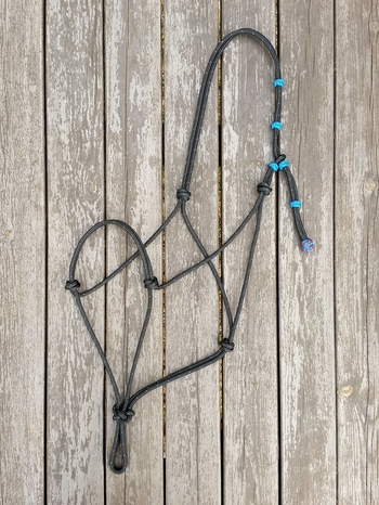 Rope halter with knot adjustment - X-full, Black