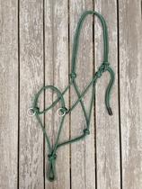 Sidepull rope halter with rings - Cob, Hunter green