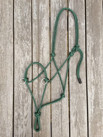 Sidepull rope halter with rings - Cob, Hunter green