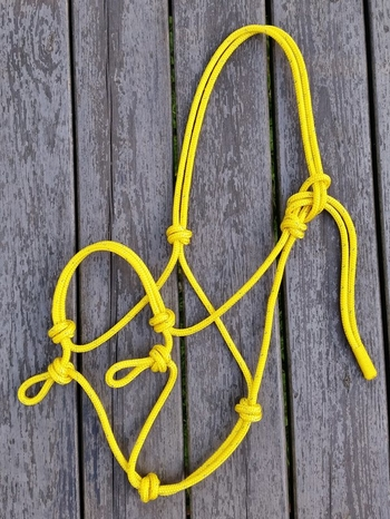Sidepull rope halter with loops - Pony, Yellow