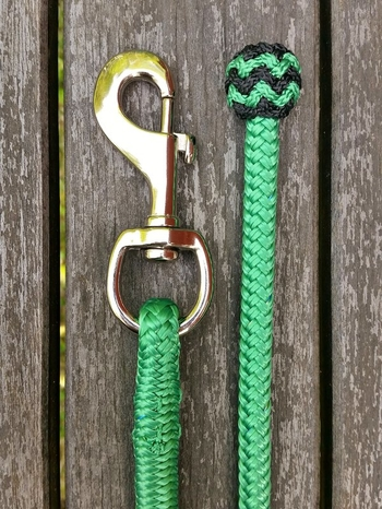 Lead rope with bolt snap and button knot - 10 mm, 6,70 m, Green