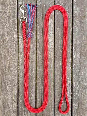 Ledrep med pistolhake och tofs - 10 mm, 3,70 m, Röd