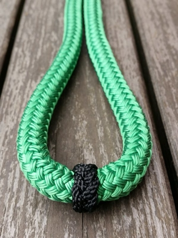 Loop reins with rope connectors and middle marker - 14 mm, 2,80 m, Green