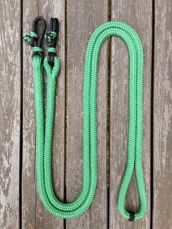 Hela tyglar med repfästen och mittmarkering - 14 mm, 2,80 m, Grön