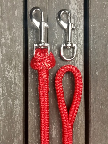 Split reins with removable bolt snaps and back splices - 2 x 2,40 m, Red