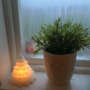 Vit gran i stearin med ledbelysning,  från Silkflower