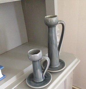 Ljusstake i keramik liten,grå från mitt & ditt