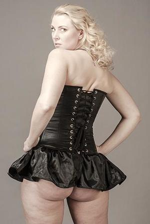 Overbust Black Satin with Skirt